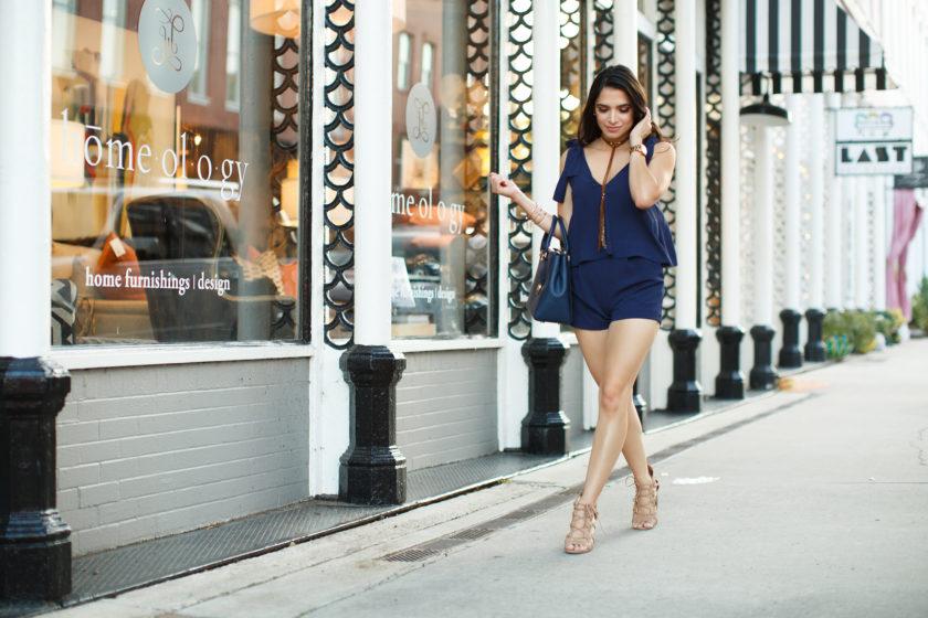 dark blue romper, jumpsuit, summer fashion, summer style, h&m romper, h&m jumpsuit