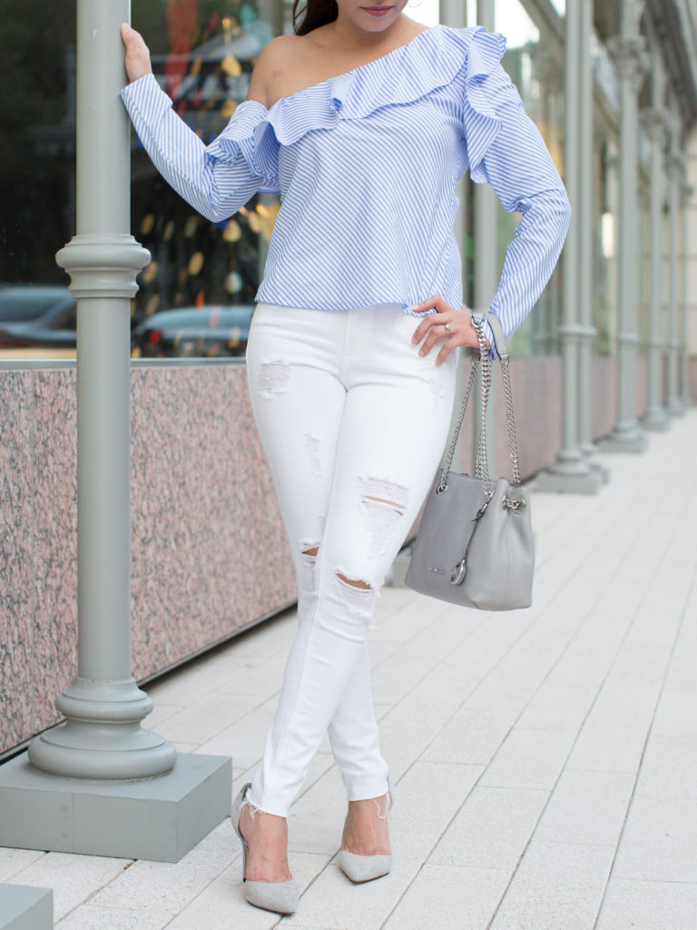 ruffle shirt, ruffle stripe top, ruffle one shoulder top, ruffle stripes top, ruffle long sleeve top, ruffle long sleeve shirt, ruffle long sleeve stripes shirt, grey pointed pumps, grey purse, grey and silver purse, white skinny jeans, white ripped skinny jeans, white distressed jeans, fresh look, fresh chic outfit