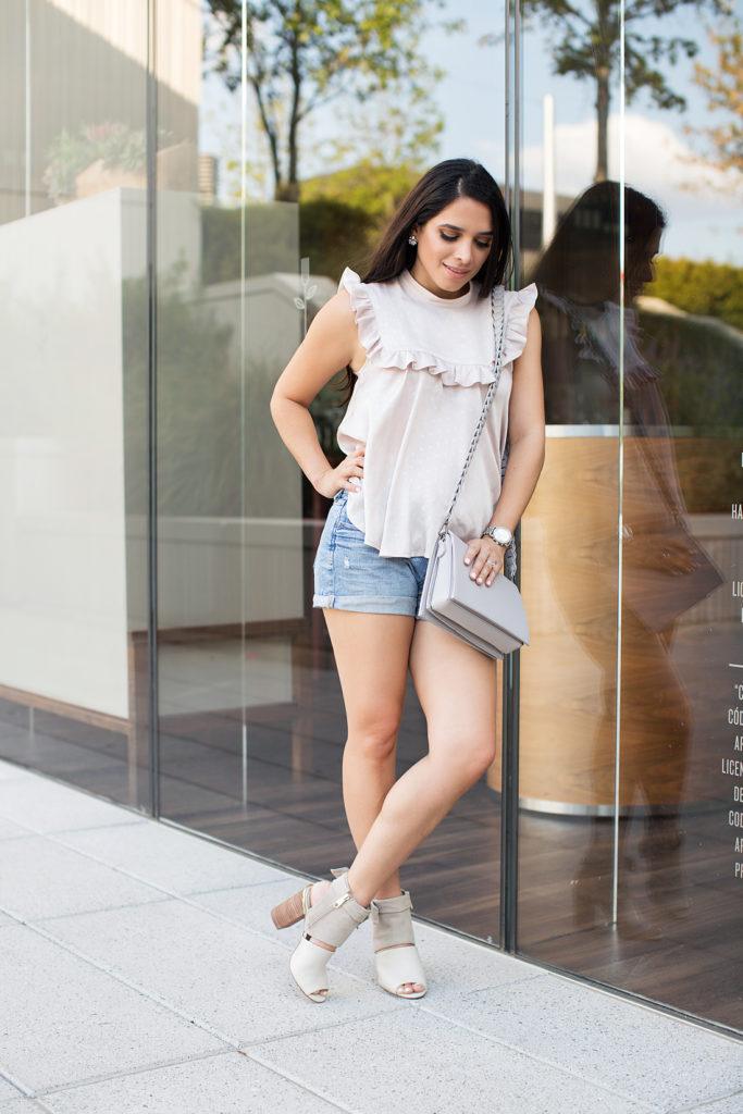 cuffed denim shorts, grey crossover bag, booties