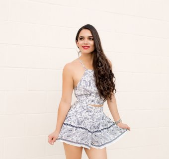 Ridiculously Cute Summer Outfit: Two-piece Boho Print Set