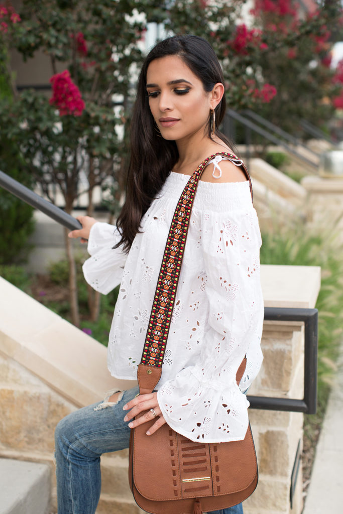 cold shoulder white top, embroidered cold shoulder top, embroidered cute top, off the shoulder embroidered top, off the shoulder embroidered white top, off the shoulder white top, bell sleeve top, bell sleeves white top, embroidered off the shoulder bell sleeves top, embroidered off the shoulder bell sleeve white top, embroidered off the shoulder bell sleeve, look for fall, trendy look for fall, what to wear on fall, what to wear for fall, distressed jeans, distressed boyfriend jeans, distroyed jeans, lace up wedge sandals, affordable fall outfit,camel steve madden bag, camel steve madden purse, brown steve madden purse, brown crossover steve madden purse, brown crossover purse