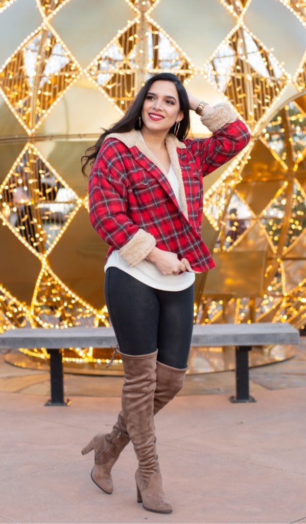 holiday outfit, high knee boots, tied in boots, suede high knee boots, best leggings to wear in winter, flannel, festive flannel, festive outfit, fur flannel, fashion holiday outfit, fashion festive outfit